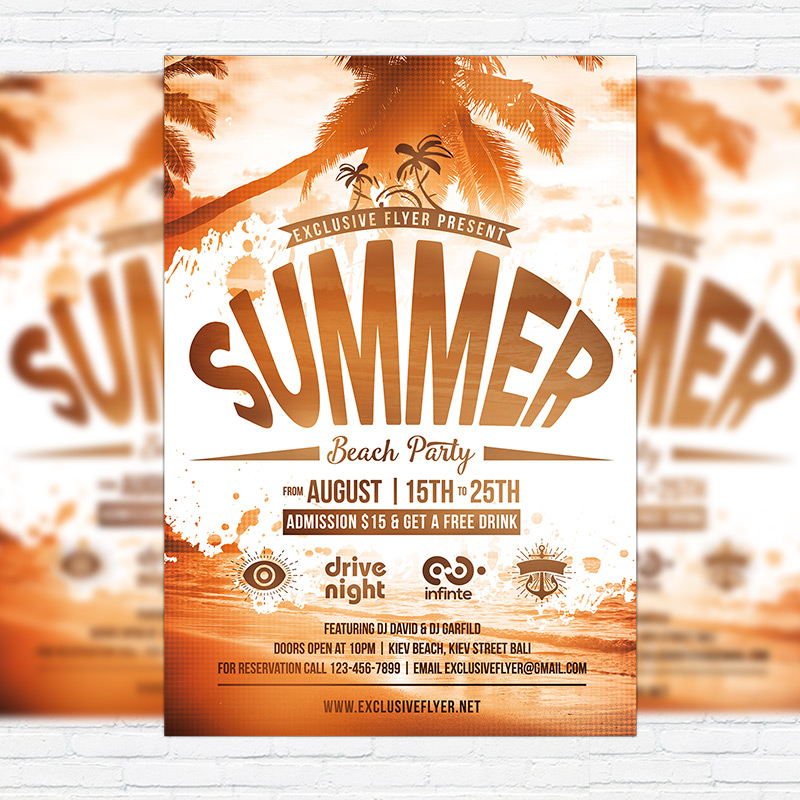 15 Excellent Flyer Templates For Your Next Event: Summer Beach Party Vol.4