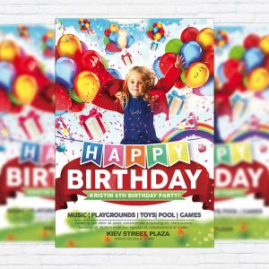 Kids Happy Birthday - Premium Flyer Template + Facebook Cover