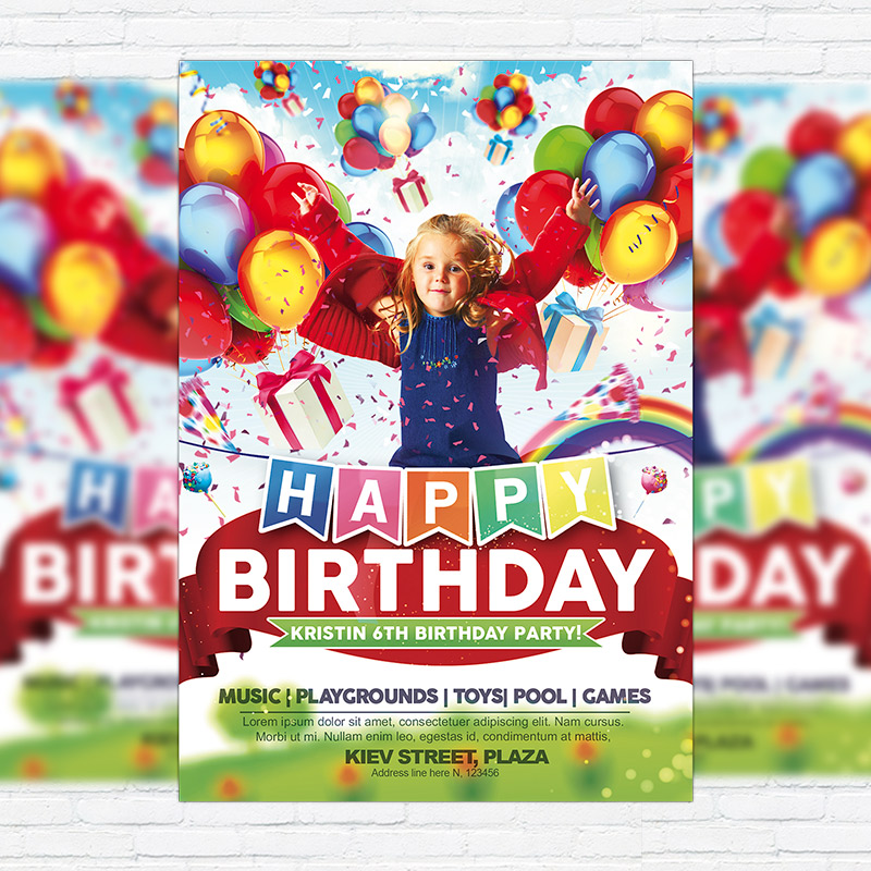 Kids Happy Birthday  Premium Flyer Template  Facebook Cover