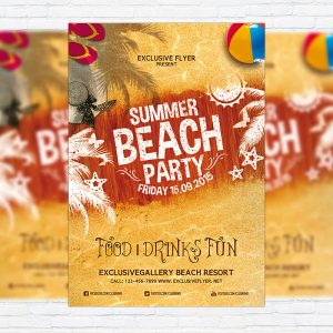 Summer Beach Party Vol.4 - Premium Flyer Template + Facebook Cover
