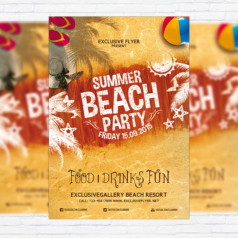 Summer Beach Party Vol.4 – Premium Flyer Template + Facebook Cover