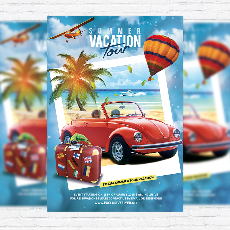 Summer Vacation Tour  Premium Flyer Template  Facebook Cover