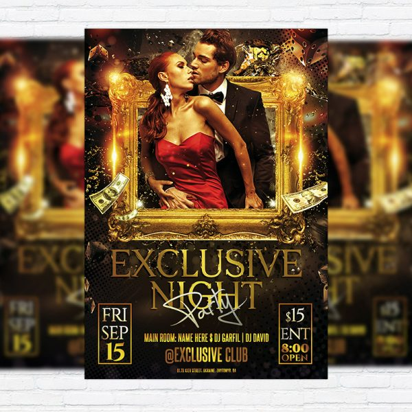 Exclusive Night Party - Premium Flyer Template + Facebook Cover