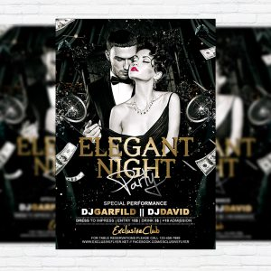 Elegant Night Party - Premium Flyer Template + Facebook Cover