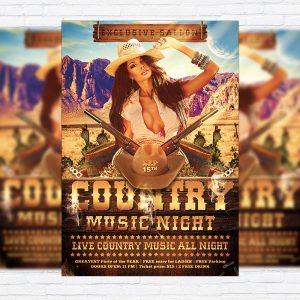 Country Music Night - Premium Flyer Template + Facebook Cover