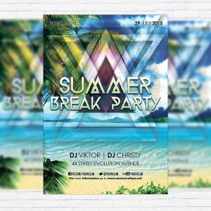 Summer Break Party - Premium Flyer Template + Facebook Cover
