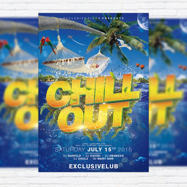 Chill Out Party - Premium Flyer Template + Facebook Cover