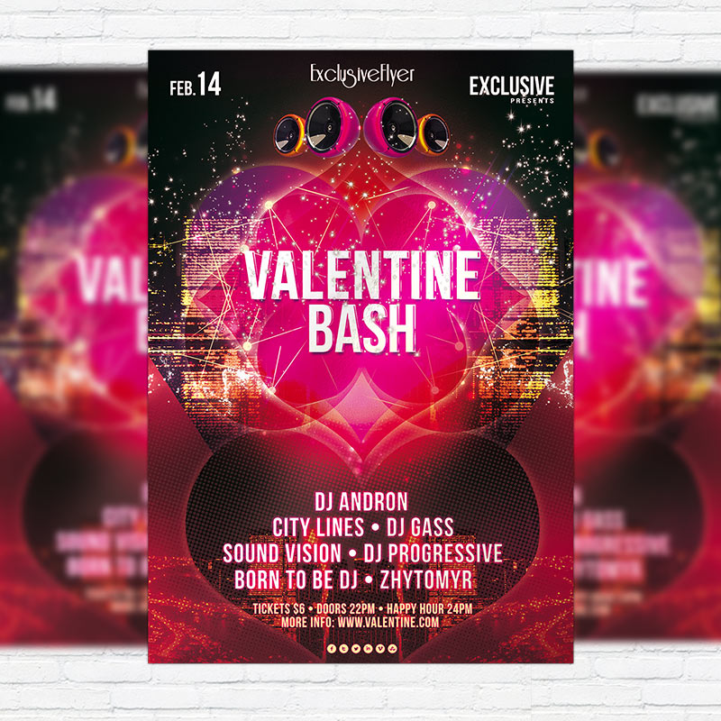 Valentine Bash Premium Psd Flyer Template Exclsiveflyer Free