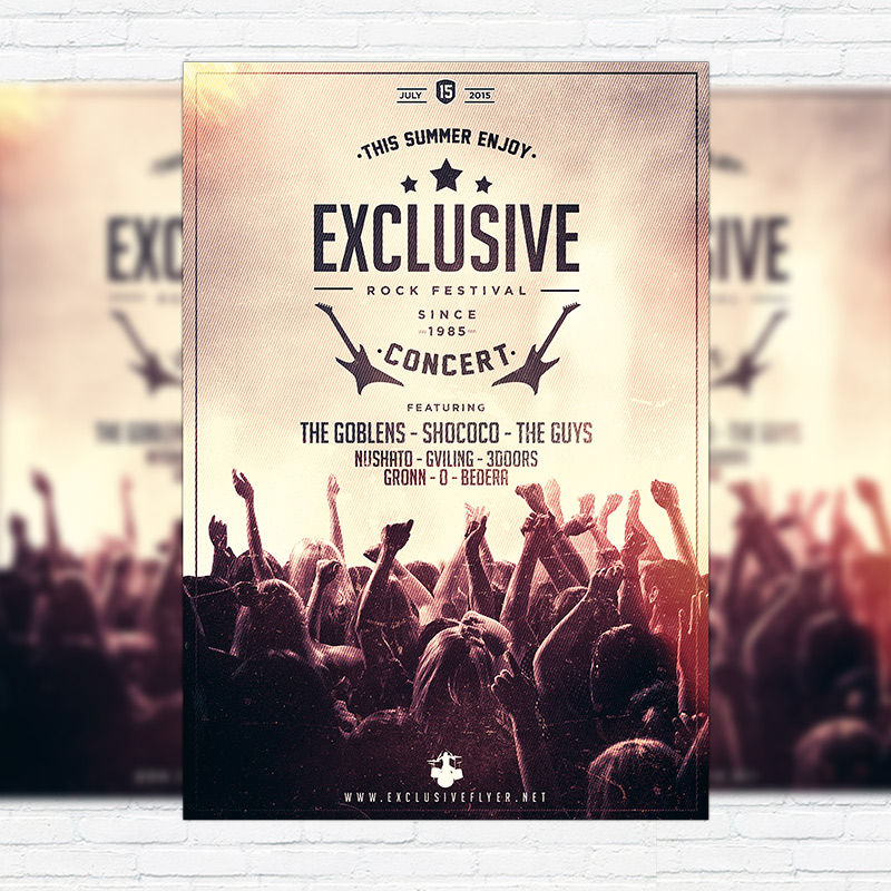 Rock Concert  Premium Flyer Template  Facebook Cover