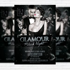 Glamour Black Night - Premium Flyer Template + Facebook Cover