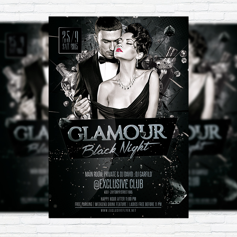Glamour Black Night – Premium Flyer Template + Facebook Cover