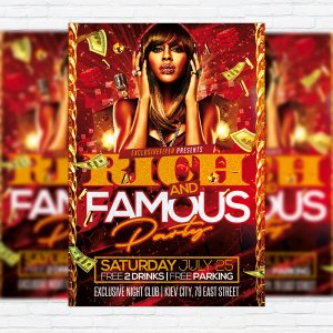Rich and Famous Party - Premium Flyer Template + Facebook Cover