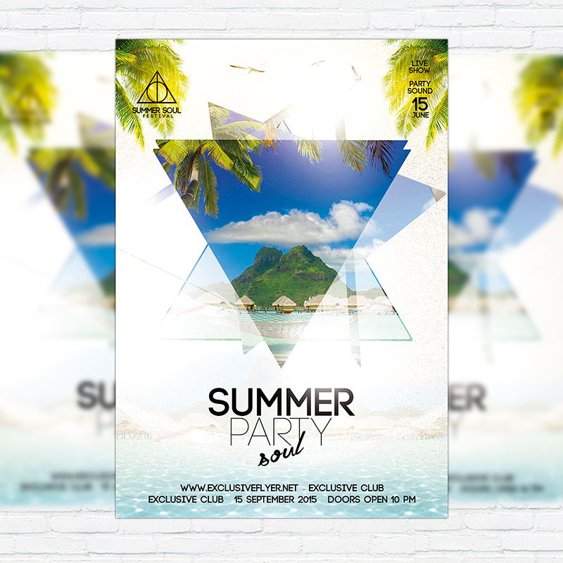 Summer Soul Party Premium Flyer Template Facebook Cover