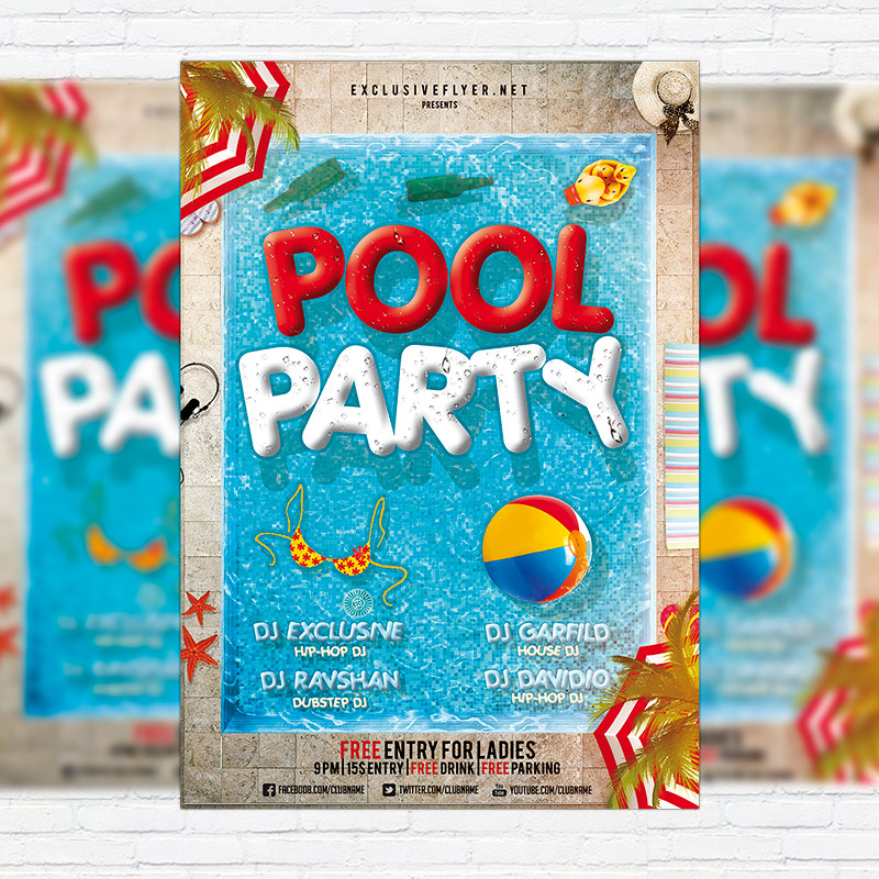 Amazing Pool Party   Premium Flyer Template + Facebook Cover