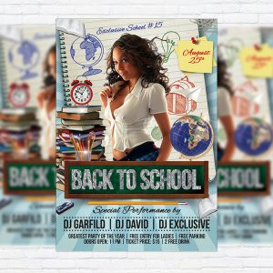 Back to School - Premium Flyer Template + Facebook Cover