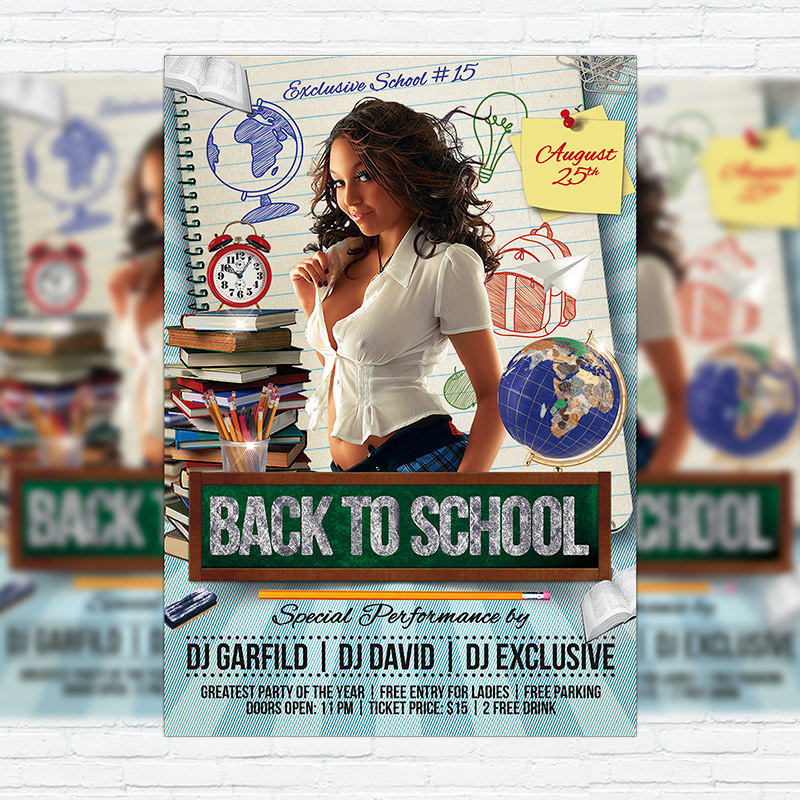 Back To School Premium Flyer Template Facebook Cover - School brochure template free
