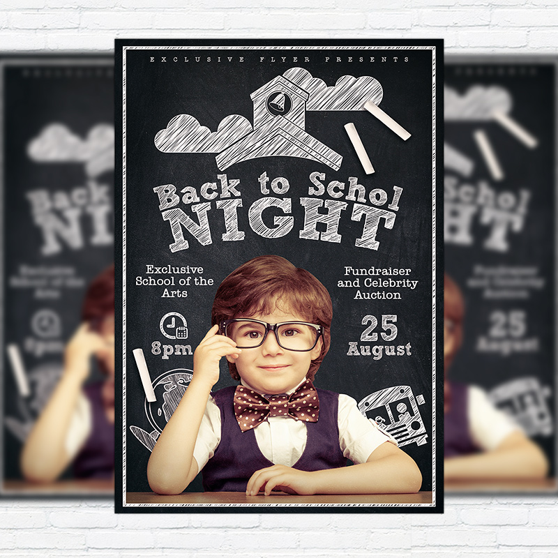 Back To School Night  Premium Flyer Template  Facebook Cover