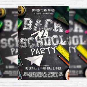 Back to School Party Vol.2 - Premium Flyer Template + Facebook Cover