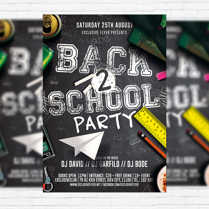 Back To School Party Vol  Premium Flyer Template  Facebook Cover