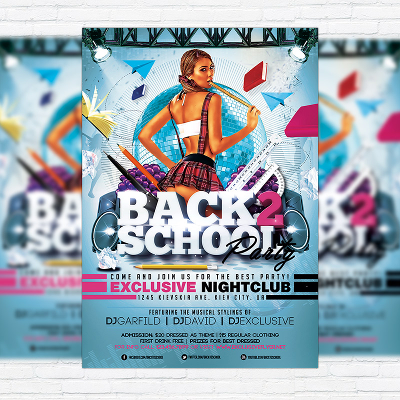 Back  School Party  Premium Flyer Template  Facebook Cover