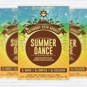 Summer Dance Party - Premium Flyer Template + Facebook Cover