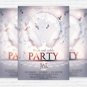 Black and White Party - Premium Flyer Template + Facebook Cover
