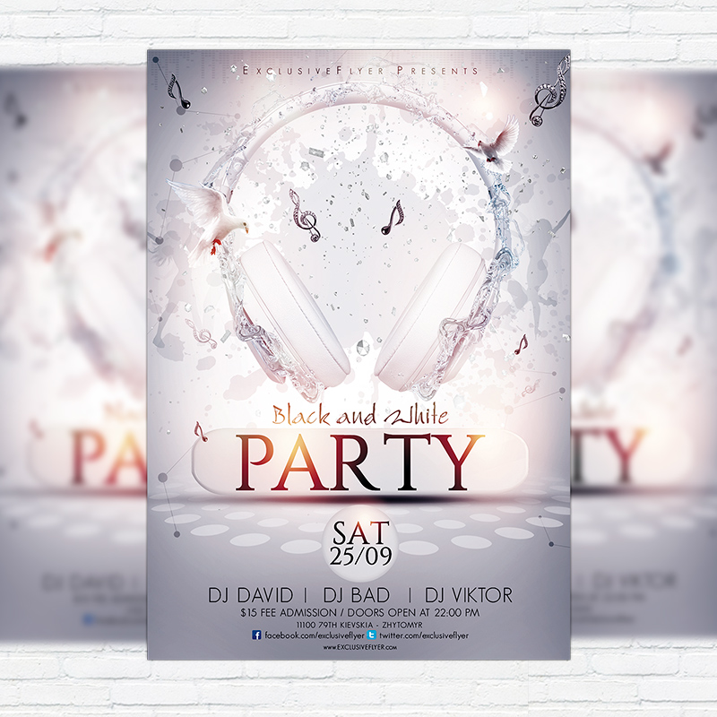 Black And White Party Premium Flyer Template Facebook Cover - Black and white flyer template free
