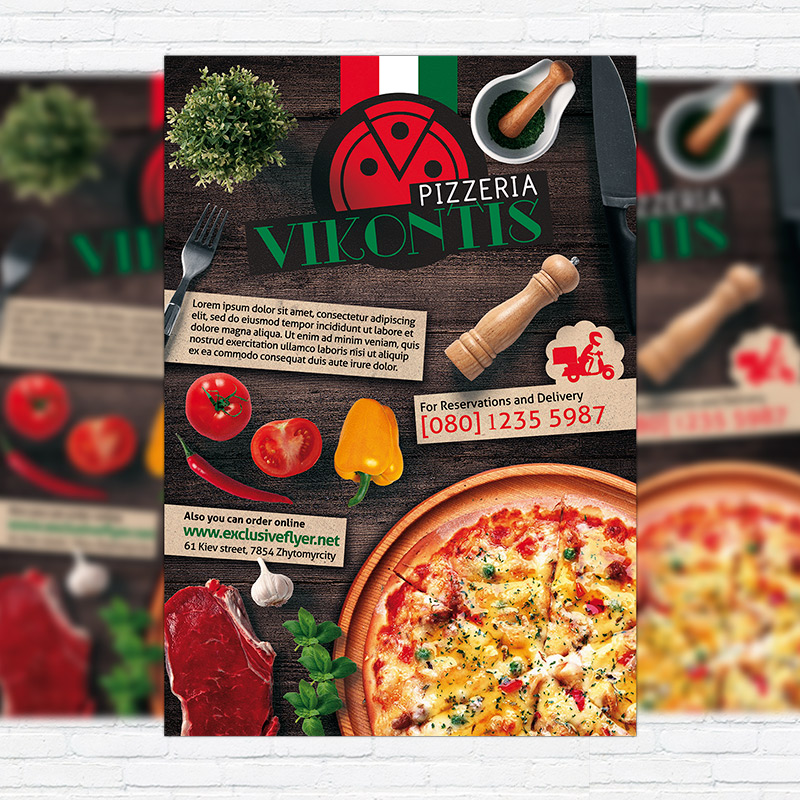 pizza flyer psd free
