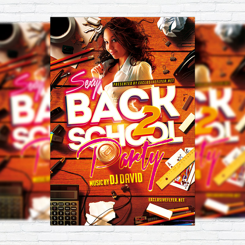 Sexy Back To School Party Premium Flyer Template Facebook Cover