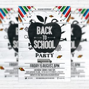 Back To School Party Vol.3 - Premium Flyer Template + Facebook Cover