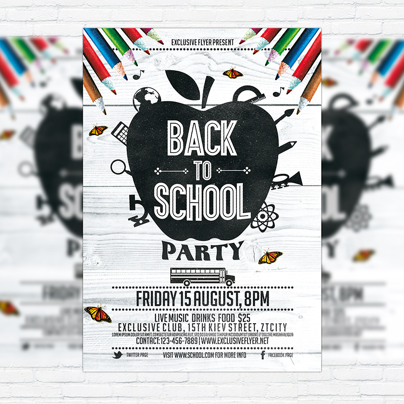 Back To School Party Vol.3 – Premium Flyer Template + Facebook