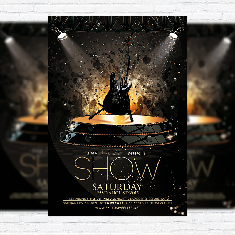 The Live Music Show – Premium Flyer Template + Facebook Cover