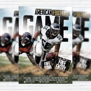 American Football Game - Premium Flyer Template + Facebook Cover