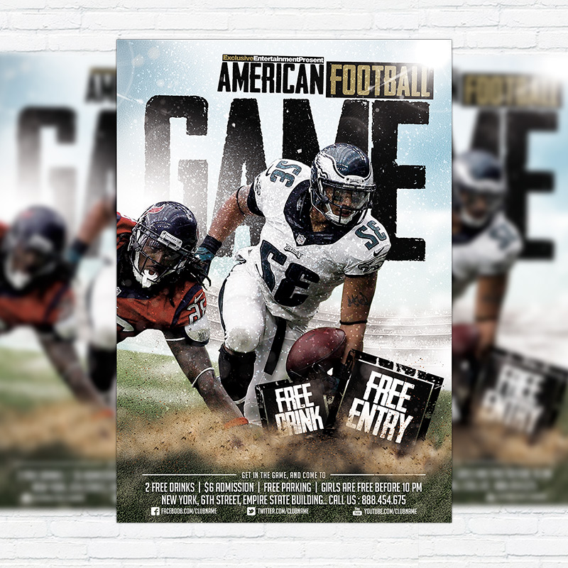 American Football Game  Premium Flyer Template  Facebook Cover