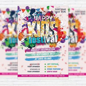 Kids Festival - Premium Flyer Template + Facebook Cover