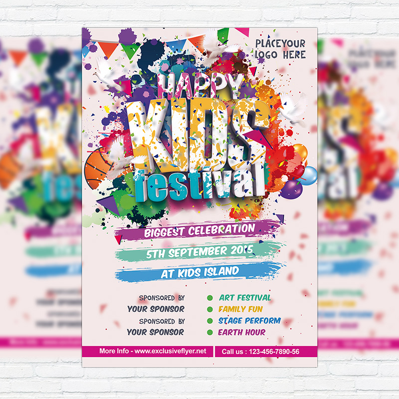 Kids Festival – Premium Flyer Template + Facebook Cover ...