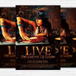 Exclusive DJ Live Show - Premium Flyer Template + Facebook Cover