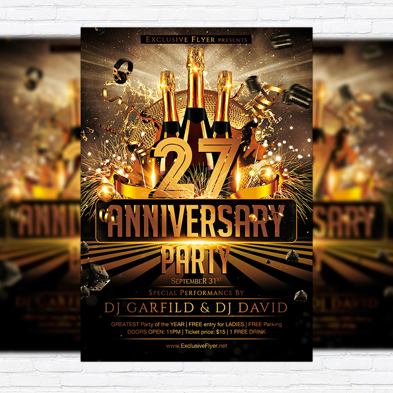 Anniversary Party   Premium Flyer Template + Facebook Cover