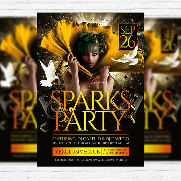 Sparks Party - Premium Flyer Template + Facebook Cover