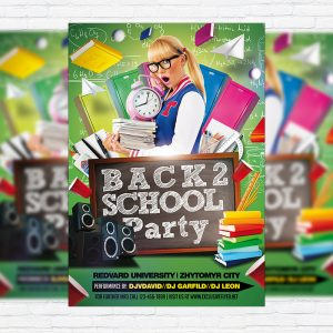 Back To School Party Vol.4 - Premium Flyer Template + Facebook Cover