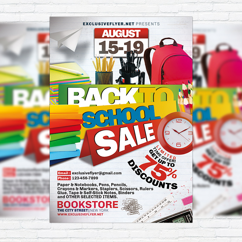 Back To School Sale  Premium Psd Flyer Template  Exclsiveflyer