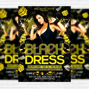 Black Dress Party - Premium Flyer Template + Facebook Cover