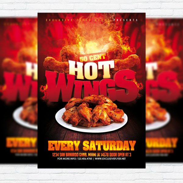 Hot Wings - Premium Flyer Template + Facebook Cover