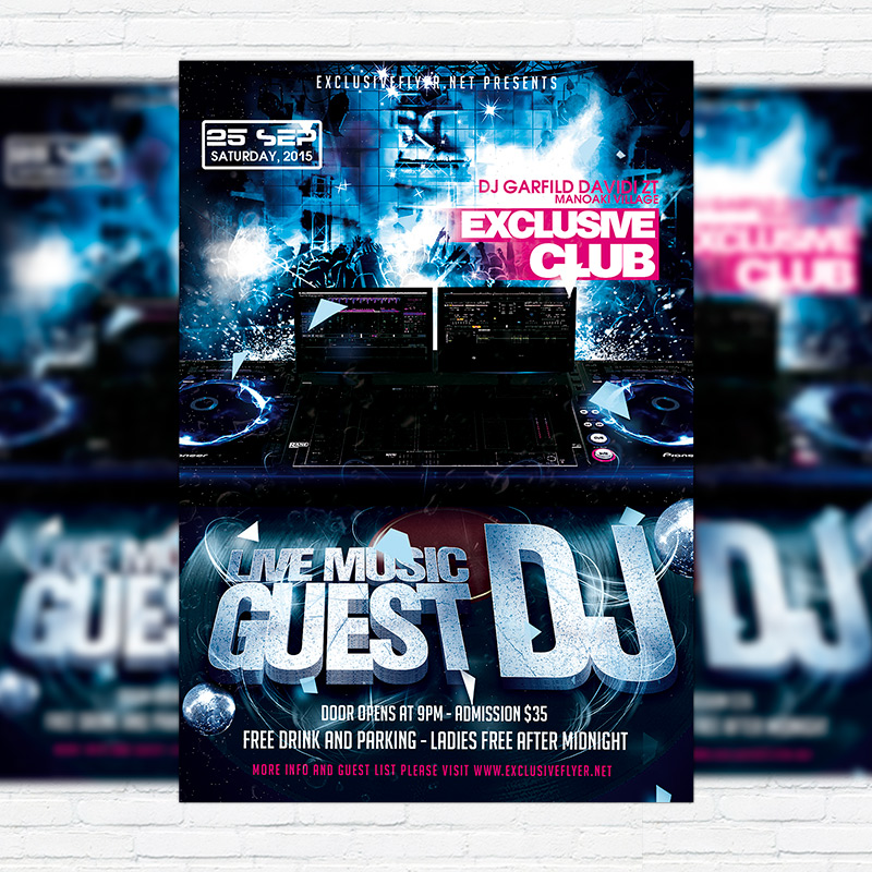 Guest Dj Premium Flyer Template Facebook Cover Exclsiveflyer