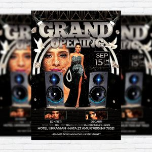Grand Opening - Premium Flyer Template + Facebook Cover