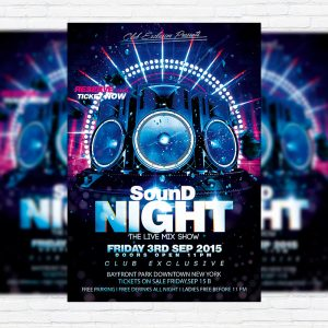 Sound Night - Premium Flyer Template + Facebook Cover