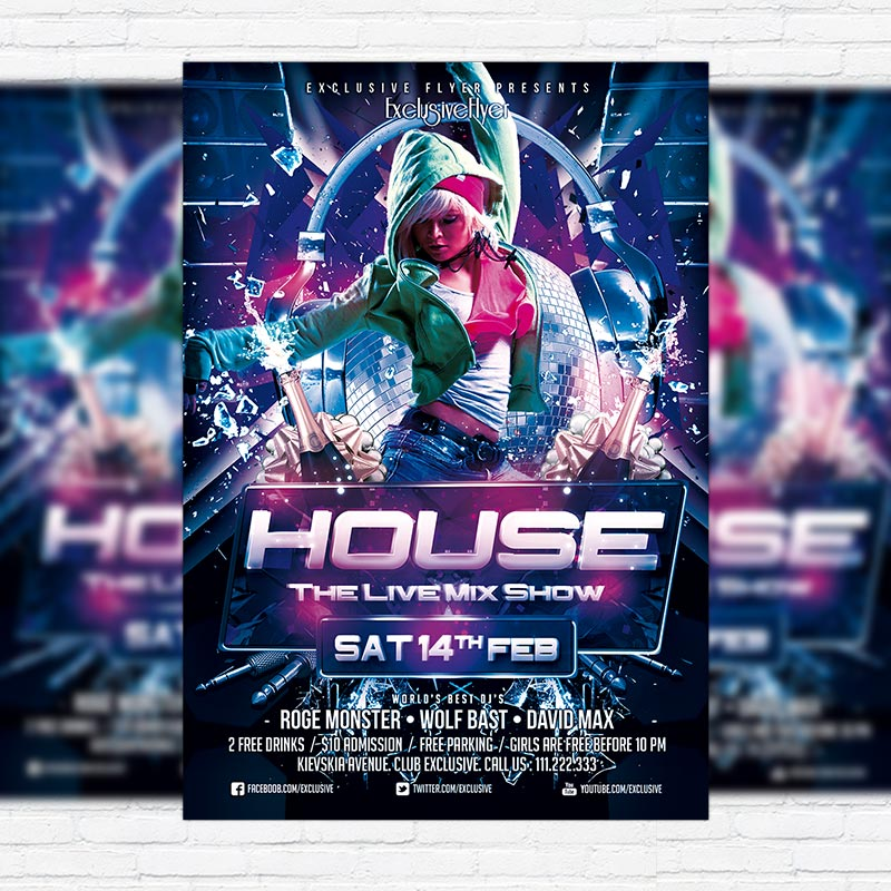 House Promote Party - Premium PSD Flyer Template