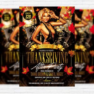 Thanksgiving After Party - Premium Flyer Template + Facebook Cover