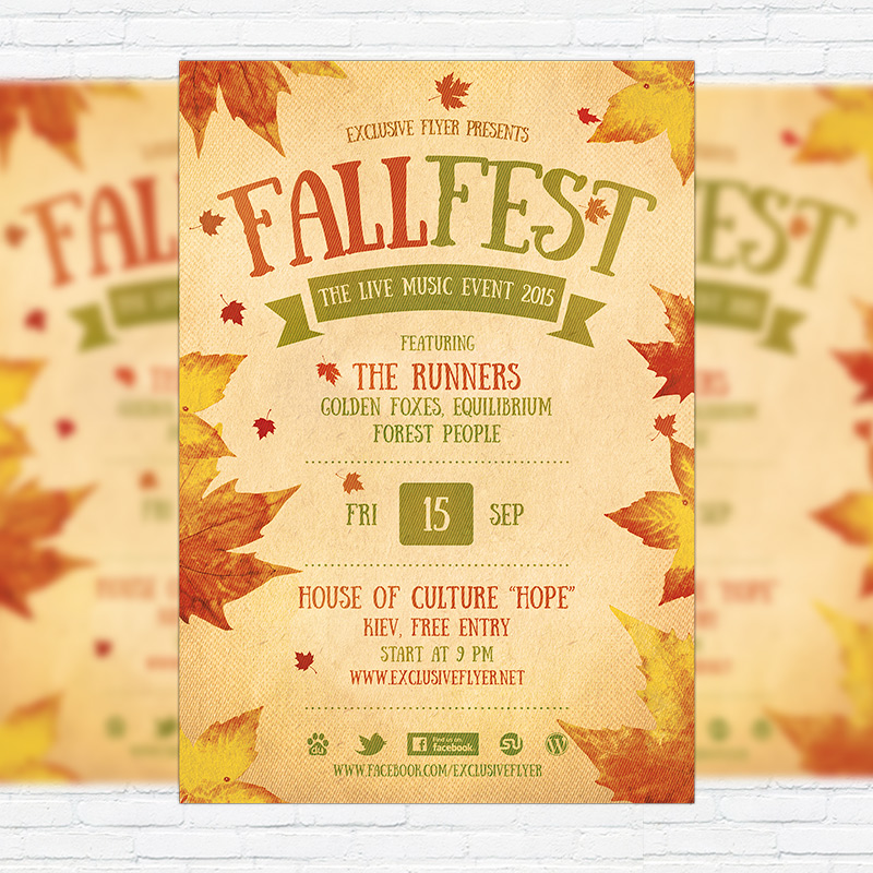 Fall Festival   Premium Flyer Template + Facebook Cover