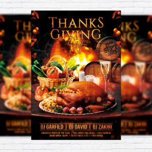 Thanksgiving Day - Premium Flyer Template + Facebook Cover